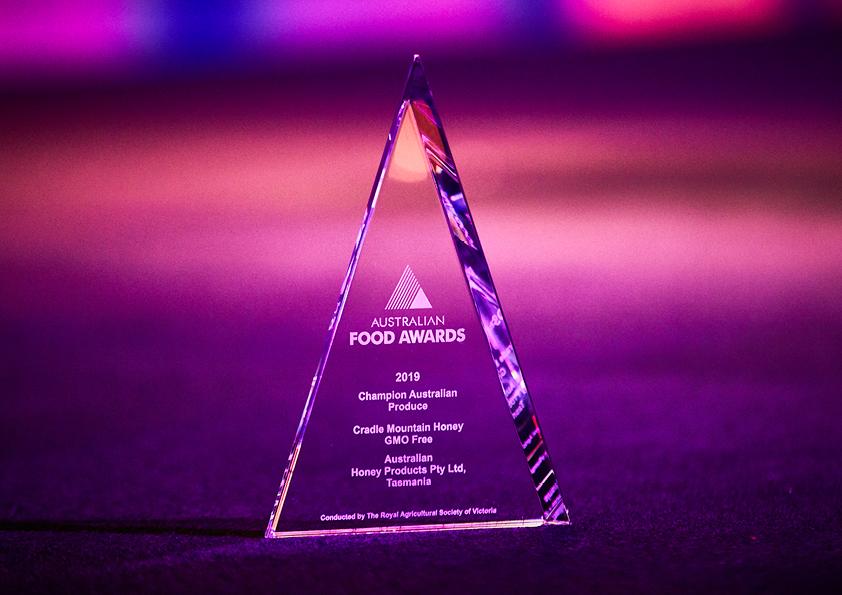 Australian Fine Food Awards 2019 Champion Produce Trophy - Cradle Mountain Clover Honey