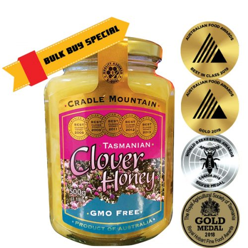 Cradle Mountain GMO Free Tasmanian Clover Honey 500g Glass Jar